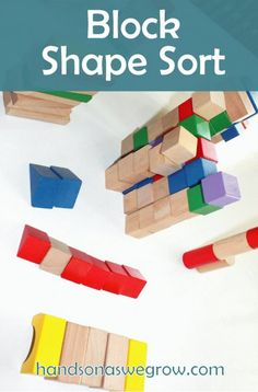 Sorting blocks by shape & color - building structures while doing so.   Great idea.