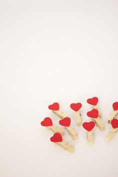 Set of 10 - Mini Clothespins with Red Hearts - Package embellishment - Little Wood Clips on Etsy, $3.50