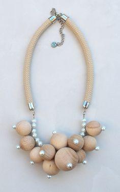 Wood statement necklace by Krisztina Lango/ Ropedesign