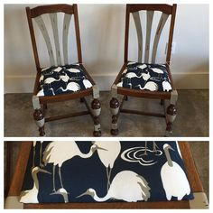 Absolutely ADORBS pair of side chairs for a client who fell for Dwell for @RADesign fabric in our showroom.  She did the paint treatment herself, and we think it's spot-on!   denicolasbr.com @amystrother #denicolas #upholstery #smallbiz #shoplocal #buylocal #buyvintage #sustainable #fabrics #fabricbytheyard #designyourown #designerfabrics #dwell #robertallen