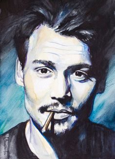 Johnny+Depp++watercolor++painting+print+8+x+12++by+SlaviART,+$25.00