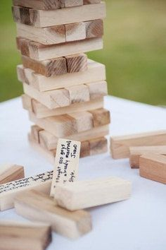 Jenga Inspired Guest Book Alternative 40 Block by thepaperynook