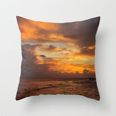 Orange Glow Throw Pillow by Rosie Brown - $20.00  #pillow #throwpillow #photography #sunset #homedecor #beach #seascape #seaoats #tropical #nature #florida