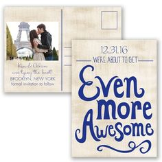 Awesome Couple - Begonia - Save the Date Postcard
