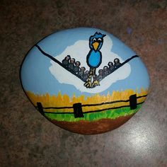 Birds on a wire. Disney short film before finding Nemo. Painted Rock Stone Art by Ashley V Harcus. Available for purchase on ebay.