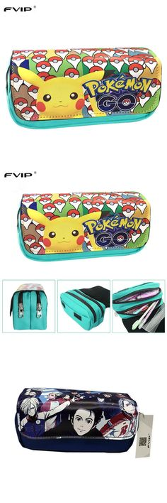 [Visit to Buy] FVIP Hot Sell Game Pokemon Go Pencil Case Wallet Pokemon Eevee Pikachu Cosmetic Makeup Coin Pouch Double Zipper Pen Bag #Advertisement