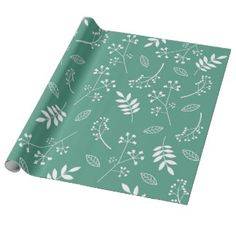 Botanical Floral Leaves Greenery Teal Green Wrapping Paper