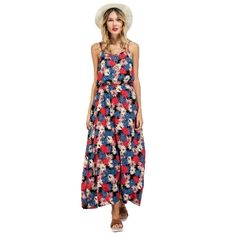 (13.17$)  Watch here - http://ai5zf.worlditems.win/all/product.php?id=G8556R-XL - New Women Long Slip Dress Floral Print Spaghetti Strap Backless Sleeveless Casual Beachwear Maxi Sundress Red