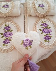 No photo description available. Beaded Embroidery, Embroidery Stitches, Hand Embroidery, Embroidery Designs, Lavender Cottage, Rose Cottage, Sewing Projects For Kids, Purple Roses, Handmade Silver