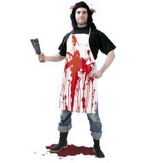 Schort met bloed. Bloederig verkleed schort voor volwassenen. Materiaal: synthetisch in combinatie met katoen.