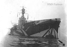 "HMS Furious, tricked out in ""Razzle Dazzle"" anti-U-Boat camouflage for WWI. Dazzle Camouflage, Camouflage Patterns, Diesel Punk, Hms Furious, Joining The Navy, Razzle Dazzle, Navy Ships, Submarines, Aircraft Carrier"