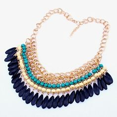 Vintage Water Droplets Tassel Acrylic Pendant Statement Necklace For Evening Party  – USD $ 5.99