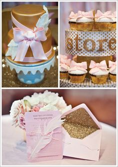 Pink Sparkle Birthday Party - Not a fan of so much gold for my kids but love the ideas and overall girly theme!