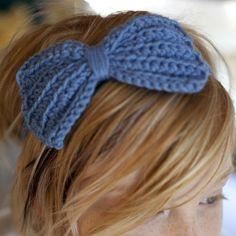 crochet blue bow headband