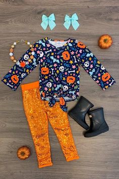 Halloween Tie Sequin Pant Set Halloween Outfits, Halloween Kids, Plaid Hoodie, Cute Cat Face, Sequin Pants, Themed Outfits, Fun Prints, Festival Fashion, Pink