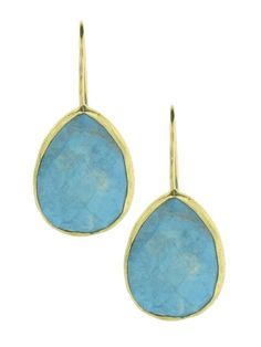Yellow Gold Plating over Silver Turquoise Teardrop Pierced Earrings at Jennifer Miller
