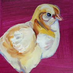 Vibrant, Expressive Animal Art at Free Rein Art, Hot Chick II, 5 x 5, can be bought in a set of 3