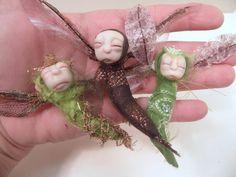 ooak FAIRY TREE with 3 sleeping cocoon pixies in by DinkyDarlings