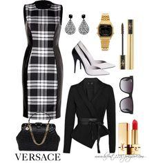 * VERSACE * Minimalist Set by hrfost1210 on Polyvore featuring moda, Versace, Casio, Mimco, Ray-Ban, Yves Saint Laurent, Donna Karan, women's clothing, women's fashion and women