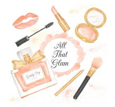 Watercolor Makeup clipart, cosmetic clipart, , Fashion clipart, pink, Handpainted, Perfume clipart by GiddyPopGraphics on Etsy
