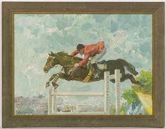 """Steeplechase"" by Arkadi Soroka Oil Painting, Socialist Realism, Russian Art, Horse Racing, Online Art, 1960s, Original Art, Horses, Oil, Antiques"