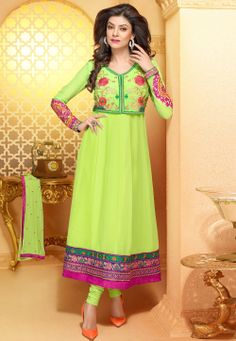 #Green Faux Georgette #Anarkali Churidar Kameez @ $53.00