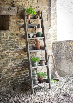 Our rustic wooden Shelf Ladder is not only suitable outdoors as a decorative stand for plant pots or as a useful additional storage unit for any potting shed or greenhouse but would look marvellous indoors too for a more rustic relaxed style Wooden Ladder Shelf, Rustic Wooden Shelves, Old Ladder, Ladder Shelves, Rustic Ladder, Leaning Ladder, Ladder Storage, Book Shelves, Step Shelves