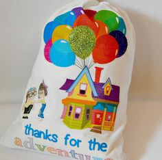"""Birthday Favor Bags Disney Pixar Up the movie Glitter for Treats or small gifts 6"""" x 8"""" Qty 6"""