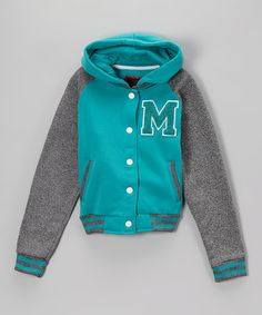 Look what I found on #zulily! Emerald & Charcoal 'M' Varsity Jacket #zulilyfinds