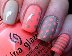 polka dots striped grey coral nails
