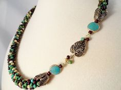 Mixed Picasso Bead Kumihimo Braid Necklace by JewelrybyPJ on Etsy