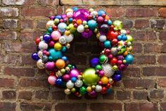 DYI Festive Christmas wreath made with ornaments