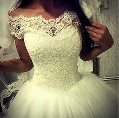 Vestidos De Novia Elegant Princess Plus Size Off the Shoulder Appliques Lace Tulle Ball Gown Wedding Dresses 2015 Bridal Gown