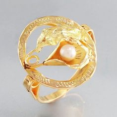 superb item gold ring with with mithological head and akoya pearl ca. Ø mm ring head mm ring size 55 x mm Gramm winth cerificate 18k Gold, Gold Rings, Vintage, Pearls, Jewelry, Jewlery, Jewels, Beads, Jewerly