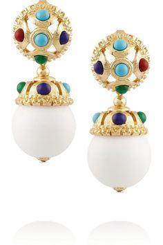 Kenneth Jay LaneGold-tone cabochon clip earrings