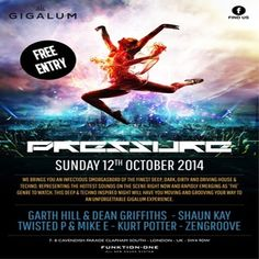 Pressure at Gigalum, 7-8 cavendish parade, london, SW4 9DW, United Kingdom on 12th Oct at 16:00 - 23:00, Representing the hottest sounds on the scene right now and rapidly emerging as 'the' genre to watch, this deep and techno inspired night will have you moving and grooving your way to an unforgettable Gigalum experience. Category: Bars, Price: free, Artists: Shaun Kay, Jake and Mike, Kurt Potter, ZenGroove, Garth Hill, Dean Griffiths
