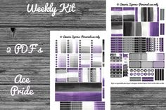 Weekly Kit  Ace Pride  PRINTABLE stickers  Made to by AmarisSpoons