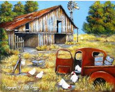 pictures of old barns in summer Farm Paintings, Country Paintings, Watercolor Paintings, Barn Pictures, Pictures To Paint, Creation Photo, Farm Art, Country Scenes, Old Barns