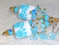 Turquoise and White Lampwork Earrings Lampwork by hhjewelrydesigns, $40.00