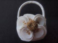 Flower Girl Basket  Bridal Ivory Gold Poppy by ArtisanFeltStudio, $30.75  hand beaded felted wool