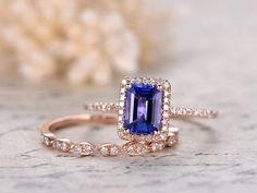 5X7mm VS Natural Tanzanite Ring Set,14K Rose Gold Engagement Ring Marquise Style Wedding Ring Diamond  Band,Party Gift,Milgrain Promise Ring