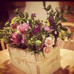 DIY flower box and flower arrangement   Flowers from my local flower market.