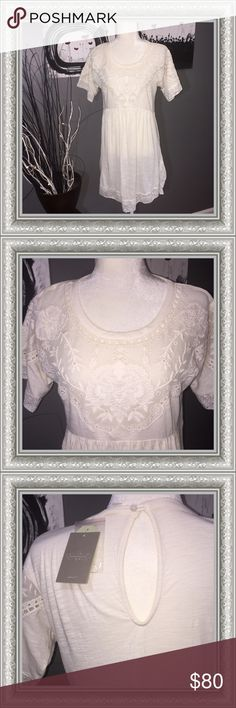 Anthropologie Lace Detailed Dress NWT Ivory Anthropologie Dress. Stunning lace detail on bodice, as well as lining the bottom hem and sleeves. Hi-Lo hem.  Approx Measurements: Shoulder/Shoulder: 20.00 inches  Chest/Bust: 20.00 inches  Waist: 20 inches  Hip: 20 inches  Sleeve: 7 inches  Back Length: 37 inches Anthropologie Dresses High Low