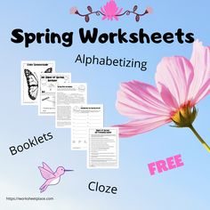 Primary worksheets to celebrate spring. Use these little booklets, cloze activity and symmetry coloring to get your kids excited about spring. Enjoy all these teachables for FREE.