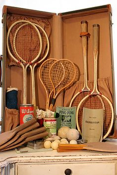 Put together a set like this for my garden someday! :D I love tennis and badminton.....