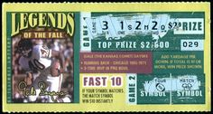 CHICAGO BEARS ILLINOIS LEGENDS OF THE FALL GALE SAYERS USED LOTTO TICKET  EXEX+ #ChicagoBears