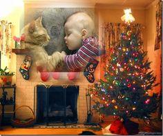 chimenea navidad, Crea gratis fotomontaje con tu foto