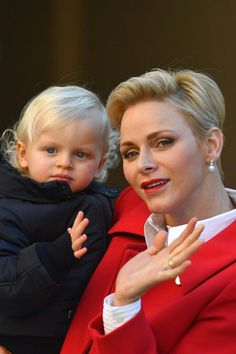 Princess Charlene with Prince Jacques in Dec 2016