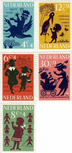 Dutch stamp desing. Theme is children rhymes (1963)