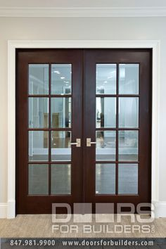 Custom Wood Interior Doors. Double Clear Glass Door For Interior With True  Divided Grills,
